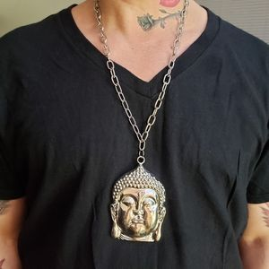 """Jewelry - NWT Giant Buddah 25"""" Stainless steel Necklace"""